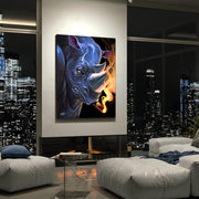 man cave art of rhino smoking cigar