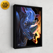 man cave canvas art of rhino smoking a cigar