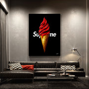 Supreme ice cream cone wall art in living room.