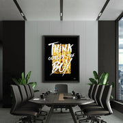 """Think Outside The Box"" motivational wall art for office board room."