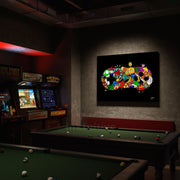 Video game wall art in arcade man cave