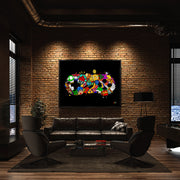 Video game wall art in warehouse loft apartment