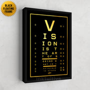 vision test canvas art in gold with frame