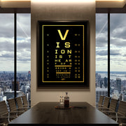 vision test motivational canvas art in office board room
