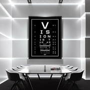 vision test motivational canvas art in modern office board room