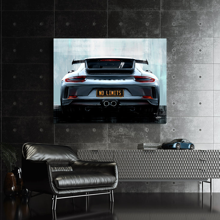 "Wall art of Porsche racing, ""No Limits"""