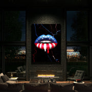 wall art print of american flag lip art