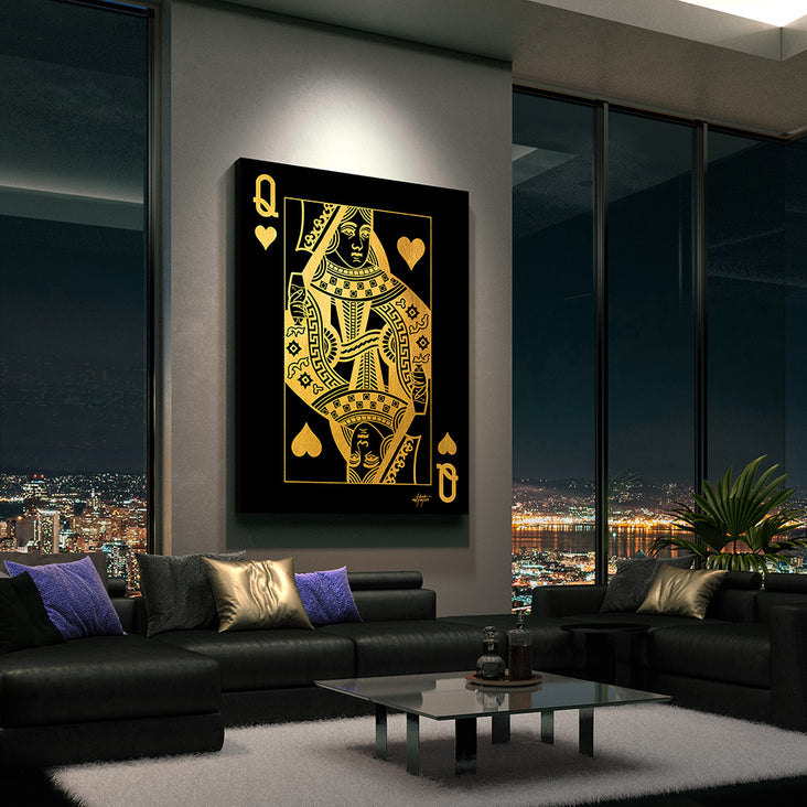 wall decor of queen heats playing card in living room