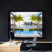 Window with luxury yacht and pool as an inspirational canvas wall art.