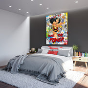 Wonder Woman colorful graffiti paint canvas art.