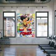 Wonder Woman motivational graffiti canvas art for gym.