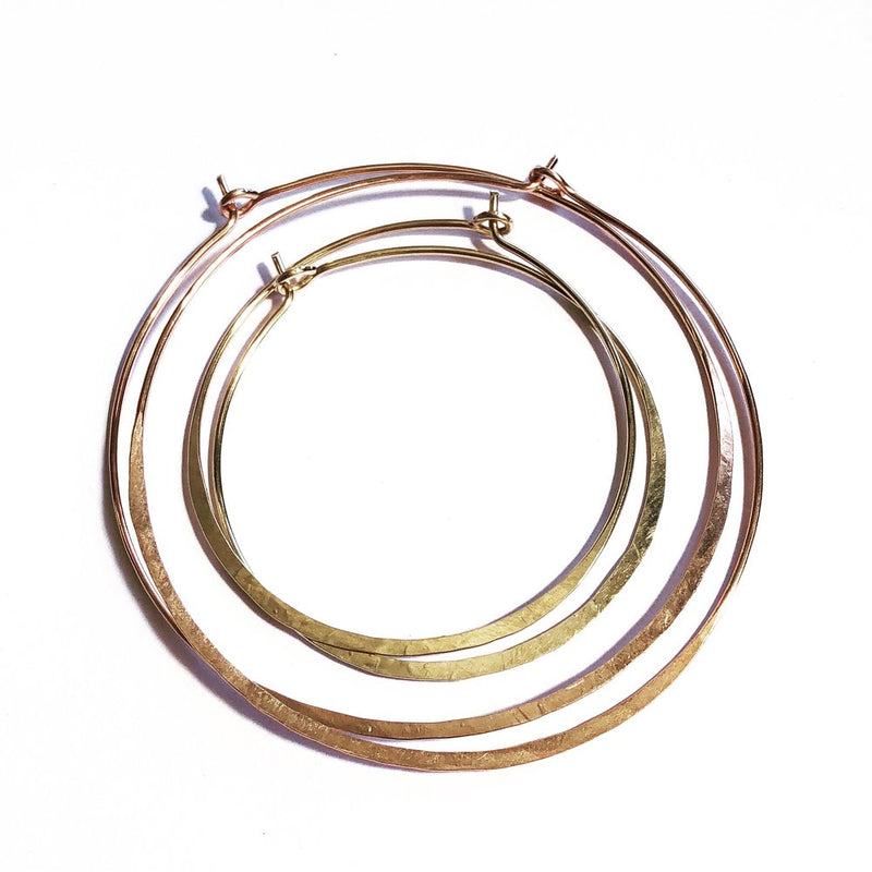 Ritu hoops Med and Lg Agapantha jewelry 14k rose gold fill hammered hoop earrings.JPG