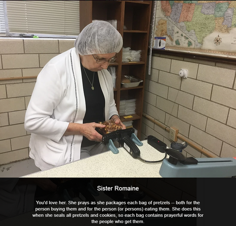 Sister Romaine packs each pretzel bag with love and prayers