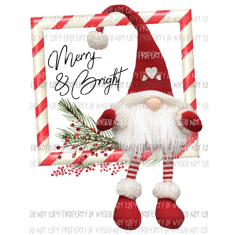 Gnome Candy Cane Frame Merry And Bright Christmas