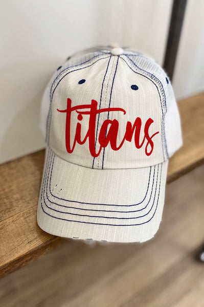 Titans in Red Script Trucker Hat