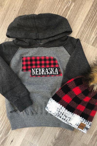 Toddler and Youth Charcoal/Gray Nebraska Hoodie