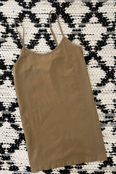 Adjustable strap camisole with racer back hooks-Taupe