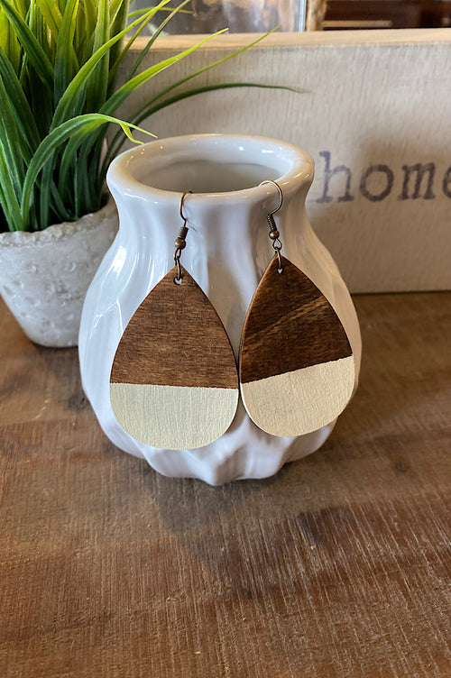 Large Teardrop Wood Earrings-Food Bank Benefit