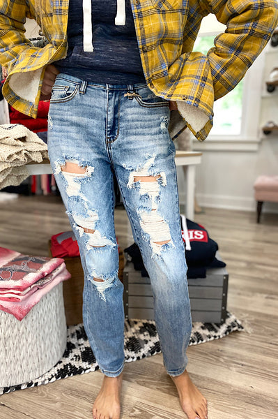 Judy Blue Jamison Distressed Boyfriend Denim