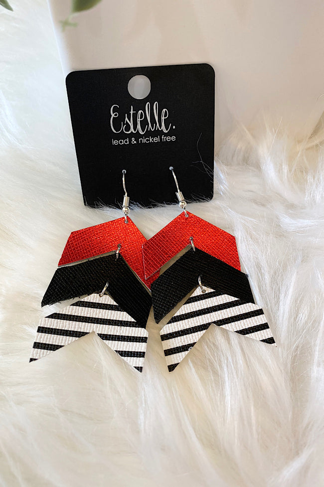 Chevron Tiered Leather Earrings