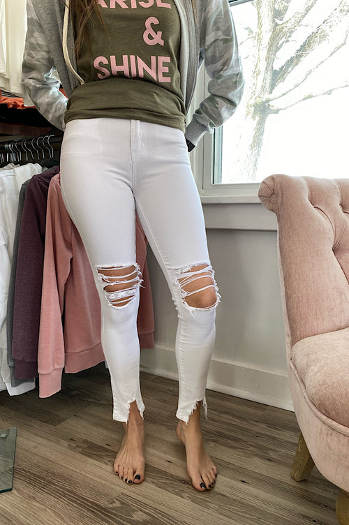 Sophia White Distressed Denim