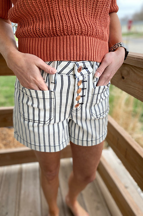 Janessa Judy Blue Striped Patch Pocket Shorts