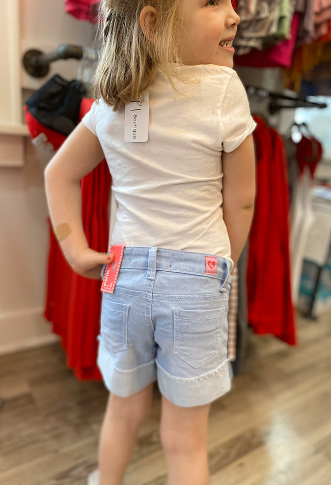 Girls Denim Shorts with Side Stripes