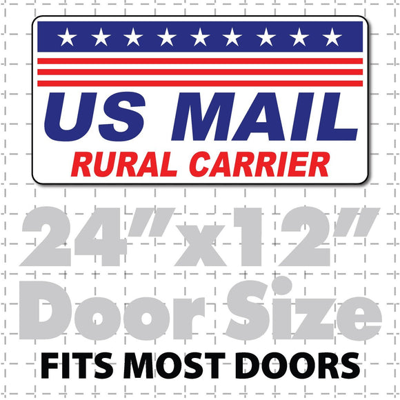 Magnetic sign for USPS delivery vehicles reading US Mail Rural Carrier in red & blue on white. Car magnet has rounded corners
