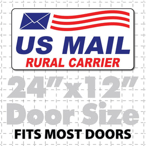 "US Mail Magnet for Rural Carrier 24""X12"" with Envelope Waving Flag - Wholesale Magnetic Signs"