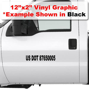"12""x 2"" USDOT Number Sticker for trucks die cut vinyl in black"