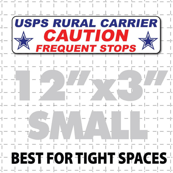 US Mail Rural Carrier Caution Frequent Stops bumper magnet Stars