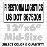 "12"" X 6"" US DOT Number Custom Magnetic Sign black text on white"