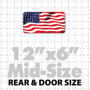 "12x6"" USA Flag Magnet or Sticker with waving flag image using patriotic US Flag"