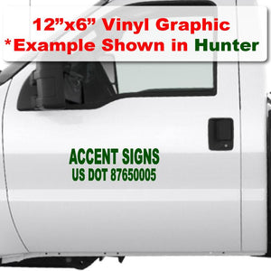 "12""x 6"" die cut USDOT number Sticker in hunter green vinyl lettering"