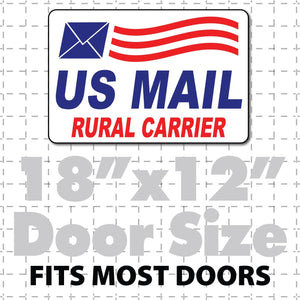 "US Mail Rural Carrier Magnetic sign for postal workers 18X12"" with Envelope Waving Flag - Wholesale Magnetic Signs"
