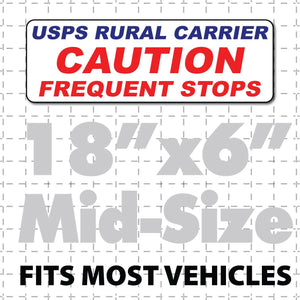 "Magnetic Sign Postal Mail Rural Carrier Caution Frequent Stops 18x6"" - Wholesale Magnetic Signs"