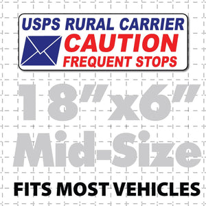 "Rural Carrier Magnet Caution Frequent Stops Magnetic Sign 18x6"" Envelope - Wholesale Magnetic Signs"