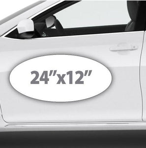 Oval Magnetic sign that is fully customizable using your lettering, colors, and logos for advertising your business on cars.