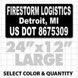 USDOT compliant magnetic truck sign with black and white company lettering to meet DOT number transportation regulations.