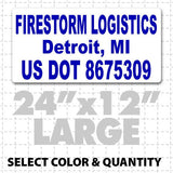 Magnetic truck signs that meet usdot compliance regulations for semi trucks and drivers or small businesses with custom text