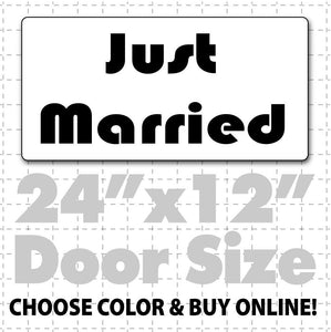 "24"" x 12"" Just Married Car Sign (disco text) - Wholesale Magnetic Signs"
