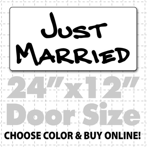 "24"" x 12"" Just Married Car Sign (hand text) - Wholesale Magnetic Signs"