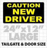 Large Caution New Driver Car magnet for teaching students to drive a car, perfect for driving instructors in black & yellow