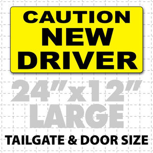 "24"" X 12"" Caution New Driver Magnetic Car Sign - Wholesale Magnetic Signs"