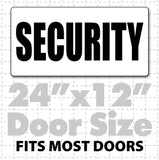 Large magnetic sign reading security in black text on white background for security guard, church or school security vehicles