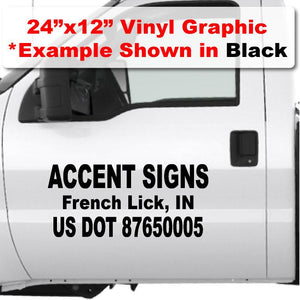 Custom usdot vinyl decal stickers for trucks that meet 50 foot US DOT compliance with large company name and DOT number.