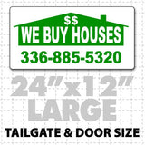 "We Buy Houses Magnetic Sign 24"" x 12"" - Wholesale Magnetic Signs"