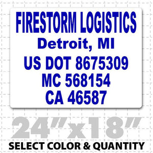 US DOT Truck number lettering magnet with 5 lines of text to meet US DOT requirements