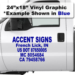Large 24x18 DOT number stickers for trucking industry to be compliant with USDOT authority when transporting goods for sale.