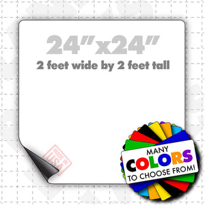 "24x24"" Magnetic Sign Blank shown in white, other colors available. Choose Blank magnetic sheet with rounded or square corners"
